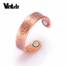 Фотография Vinterly Pure Copper Rings for Women Flowers Pattern Vintage Adjustable Open Cuff Health Magnetic Ring Pain Relief for Arthritis