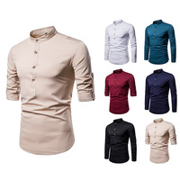 Men shirt long sleeve cotton solid color wild small collar shirt men's casual pullover long sleeved shirt 7 A22