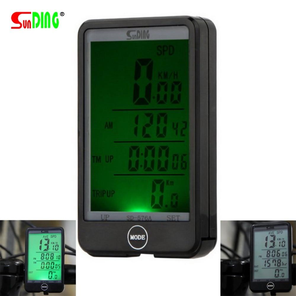 SUNDING 576A Vízálló automatikus kerékpár számítógépes világítás mód Érintse meg a vezetékes kerékpár-kerékpáros sebességmérőt LCD háttérvilágítással