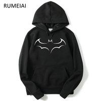 RUMEIAI מכירה חמה באטמן גברים ברדס 2017 סתיו חורף אופנה החדשה מקרית סווטשירט קפוצ 'ונים גברים הדפסת צמר קפוצ' ונים גברים