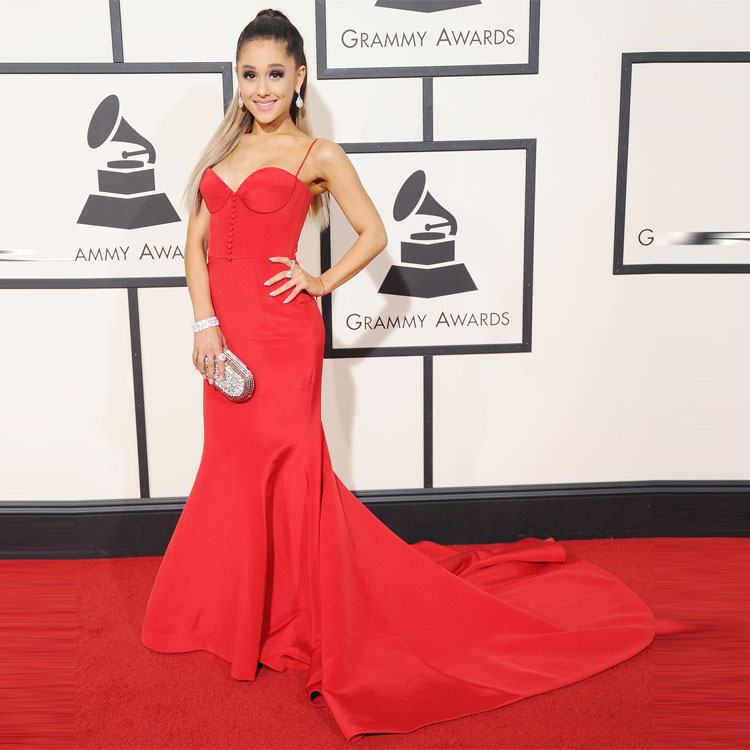 Sexy red spaghetti strap prom dresses inspired by ariana for Ariana grande wedding dress