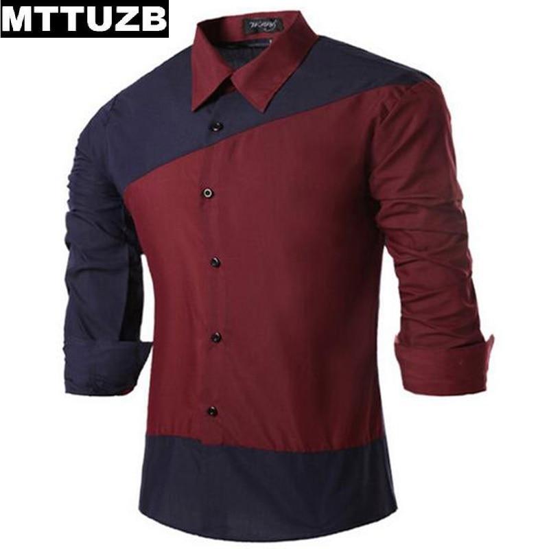 MTTUZB Man fashion speel color slim shirt men s casual business dress shirts male formal dress