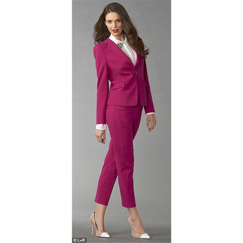 Women's New Single Buckle Slim Solid Color Suit Two-piece Suit (jacket + Pants) Ladies Business Office Dress Support Custom