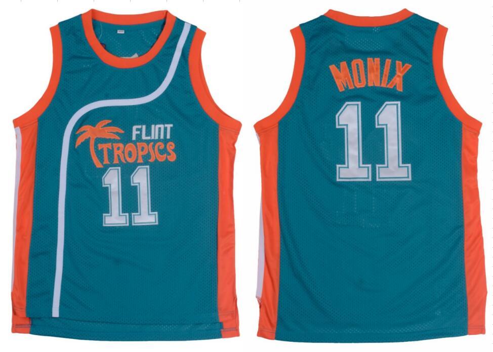 11 ED Monix Flint Tropics Semi Pro Movie Basketball Jerseys Embroidered White