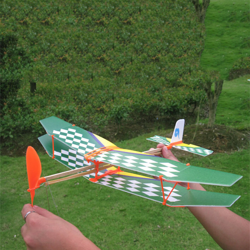 Rubber Band Powered Glider Flying Airplane Plane DIY Kids Child Toy 41*10.5cm