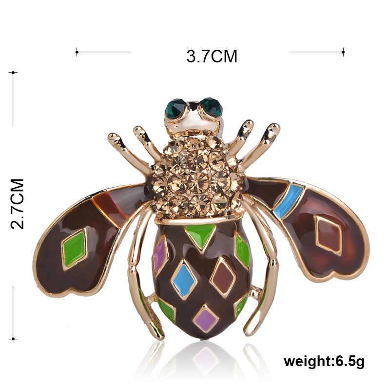 Funmor Biru Enamel Lucu Bee Serangga Bros Emas Warna Kristal Wanita Anak-anak Bros Korsase Jilbab Pin Mantel Kemeja Aksesoris Lencana