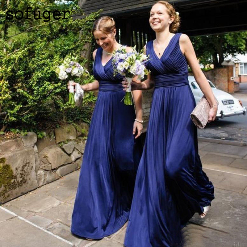 Navy Blue Attractive V Neck Chiffon Pleat Backless Special Occasion   Bridesmaid     Dresses   Formal Vestidos Wedding Party   Dresses