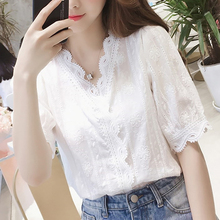 2019 Sexy Lace Hollow Out Women Blouse Tops White V-Neck Half Sleeves Blouses Blusa Sweet Female Shirts Solid Color Summer Tops цены