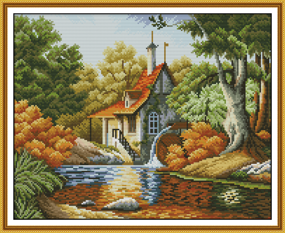 Cabin Autumn Cross Stitch Kit Aida 14ct 11ct Count Print Canvas Cross Stitches Stitching  Needlework Embroidery DIY Handmade
