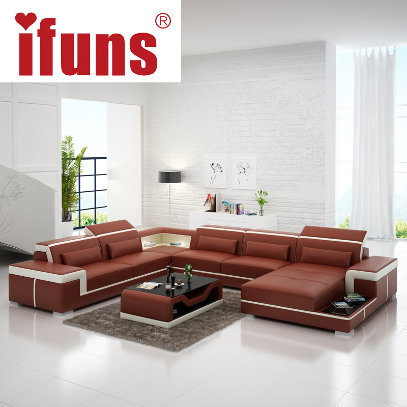 aliexpresscom buy european latest designer sofa large size u shaped white leather sofa with led light coffee table living room furniture sofa from