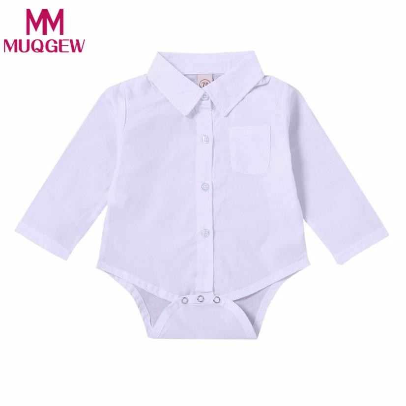 2018 Baby Boys Girls Solid Rompers Toddler Newborn wedding party white Shirt Rompers Jumpsuit Outfits Clothes Photography Props newborn baby halloween vampire cosplay jumsuit toddler boys girls funny cute clothes set kids photography props birthday gift