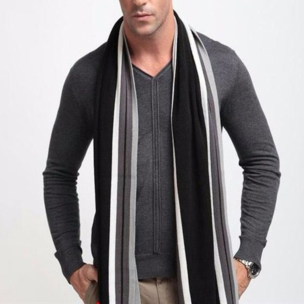 Foulard Fall Fashion Designer Wrap Men's Business Scarf Winter Striped Shawls Soft Hot Sale