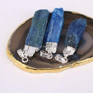 Image 3 - 5pcs Nature Kyanite Bar Gem stone Pendant Beads, Silver color Blue Kyanite  Pendants For Jewelry Making