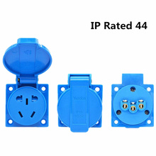 EU Plug 4000W 16A Outlet Adaptor Waterproof IP54 Round 2Pin Electric Power  Male Schuko Plug Rewireable Socket