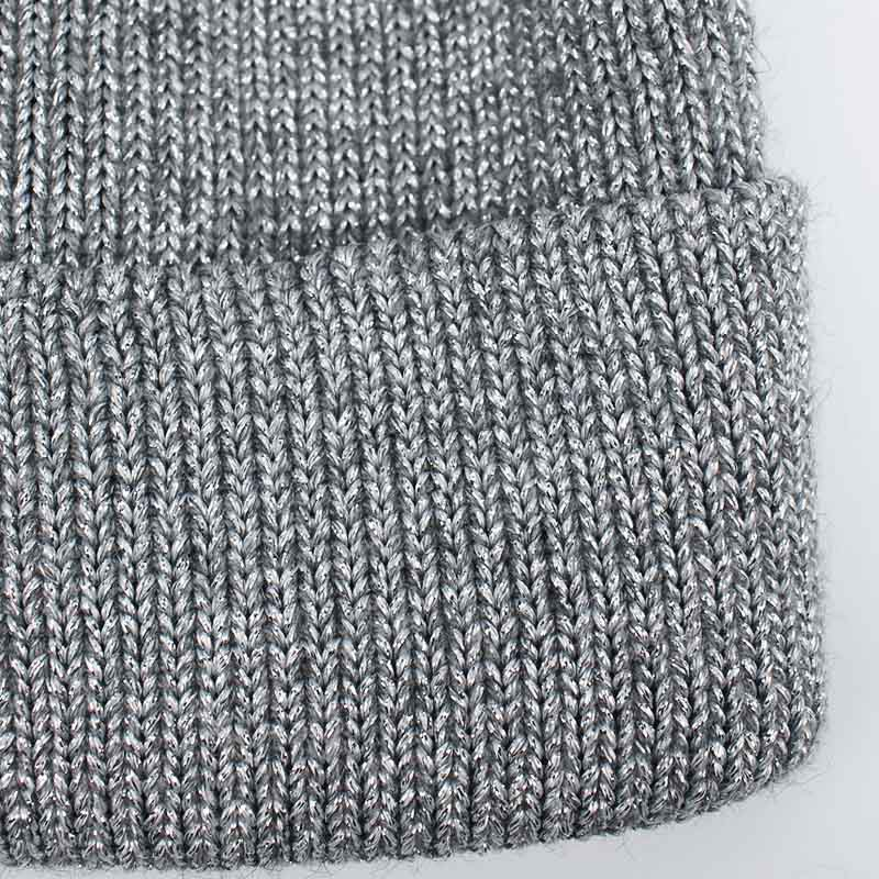 525fdb4fb91 Winter Hats for Women Knitted Beanie Hat Cap for Girls Wool Hat Female  Skullies Couples Stocking Golden silver silk Hats 2018-in Skullies   Beanies  from ...