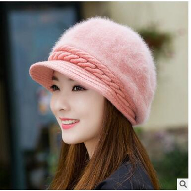 Winter new winter hats for women pearl rabbit hat pure color  cap winter knitting wool hat bonnet femme the new children s cubs hat qiu dong with cartoon animals knitting wool cap and pile