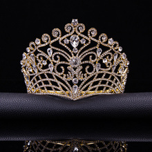 2017 New Big European Bride Wedding Tiara Crowns Silver Plated Austrian Crystal Large Queen tiara Wedding Hair Accessories T-002