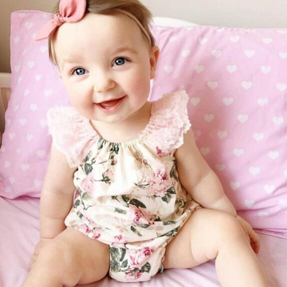 OUTAD Baby Girls Jumpsuit Pure Cotton Lovely Floral Printed Lace Decor Bebe Romper Toddler Summer Clothes Adorable Kids Clothing