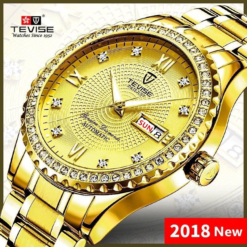 все цены на relogio masculino TEVISE Automatic Mechanical Watch Men Waterproof Male Clock Date Stainless Steel Luminous Casual Wrist Watches онлайн