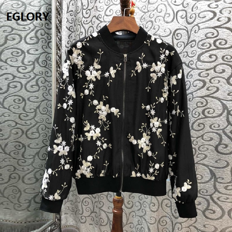 Tops Fashion New 2019 Spring Summer Jackets Coat Wome Silk Cotton Embroidery Long Sleeve Bomber Jacket Female Casual Outerwear