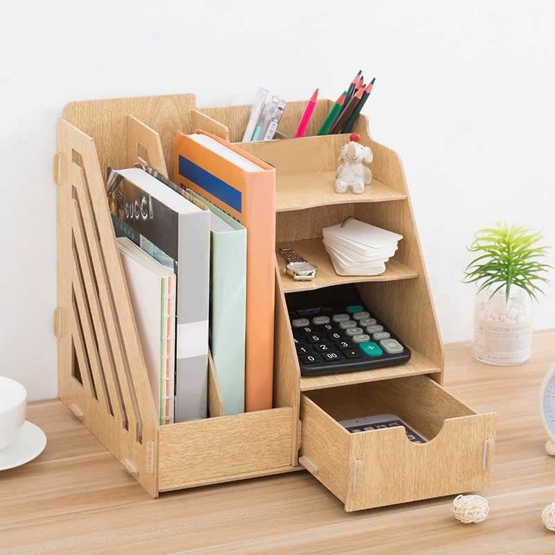 New Creative DIY Office Supplies Desktop Organizer Bookshelf A4 Drawer Folder Shelf File Tray Desk Organizer