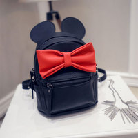 Women Backpack 2016 Hot Sale Korean version of Mickey ears sweet College Wind mini backpack PU Leather Backpack with ears