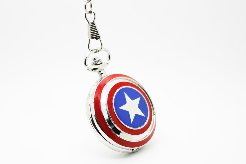 1062) Капитан Америка щит карманные часы ожерелье, диаметр 4.7.cm