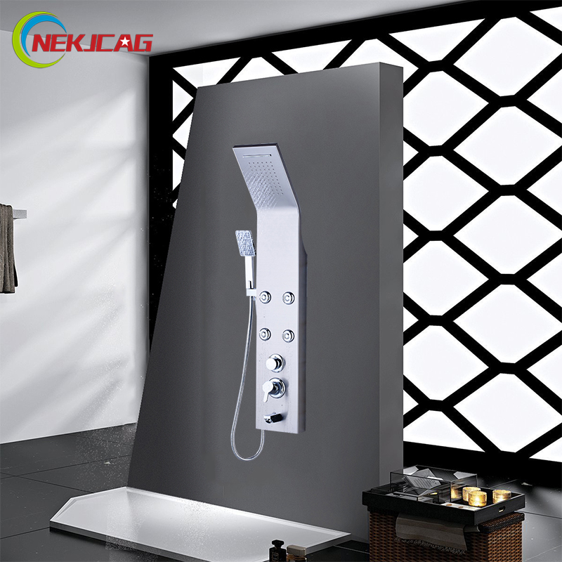 Bathroom stainless steel Faucet Panel shower mounted concealed multi-function Shower Column