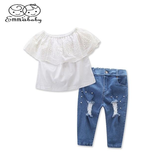 8606e5251b Emmababy Verão Conjunto de Roupas menina 2 Pcs Moda Infantil Kid Baby Girl  Lace Off-