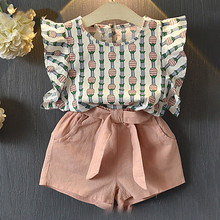 Clothing Sets 2019 Children Sleeveless Bow T-shirt+Print Pants 2Pcs for Kids Baby Girl suit
