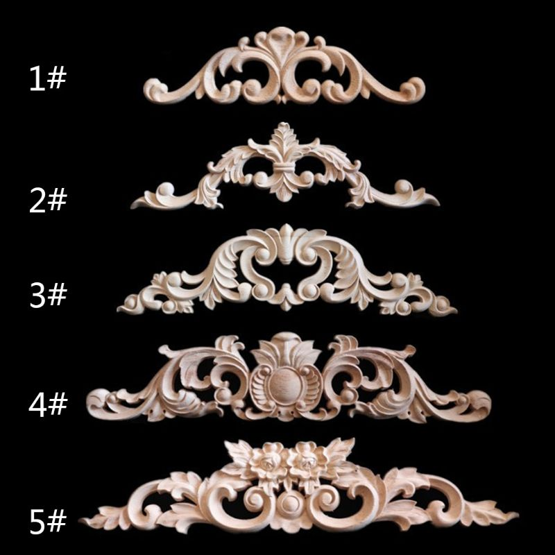 Woodcarving Decal Corner Frame Appliques Furniture Wooden Carved Decoration Retro Figurines Craft For Closet Doors