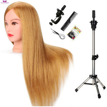 22'' Golden Hairdressing Training Mannequin Head With Human Hair Braiding Practice Manikin Head Model For Hairstyles + Tripod