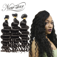 NEW STAR 3 Bundles Loose Deep 10'' 34'' Inches Virgin Human Hair Brazilian Unprocessed Weave Natural Color Hair Extensions
