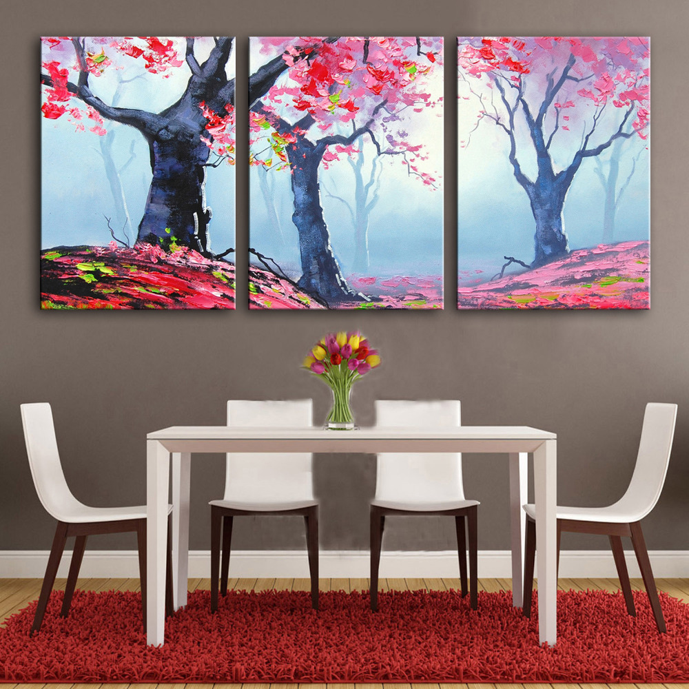 Free Shipping Hand Painting Oil Painting Red Leaves Of Trees Decoration Painting Set Of 3 Home Decor Modern Wall Prints