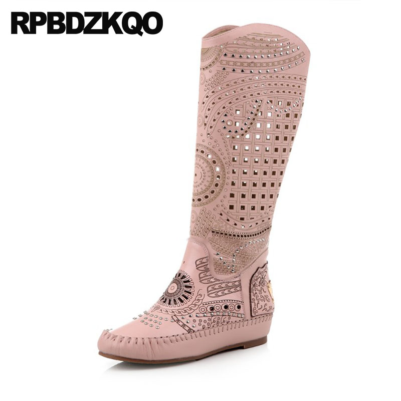 Pink Rhinestone Slip On Cut Out Hidden Equestrian Vintage Riding Luxury Brand Shoes Women Boots Long Sandals Knee High Summer pink cut out
