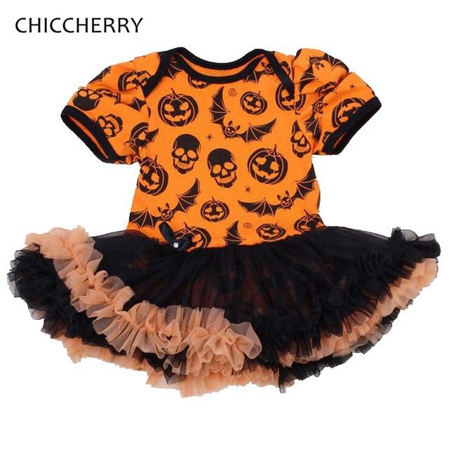 Jack-o '-lantern Bat Imprimir Traje de Halloween Para Niños Vestido Del Bebé Del Tutú Del Cordón Vestidos Infantis Niñas Trajes de Halloween