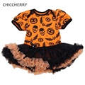 Jack-o'-lantern Bat Print Halloween Costume For Kids Lace Tutu Baby Girl Dress Vestidos Infantis Toddler Girls Halloween Outfits