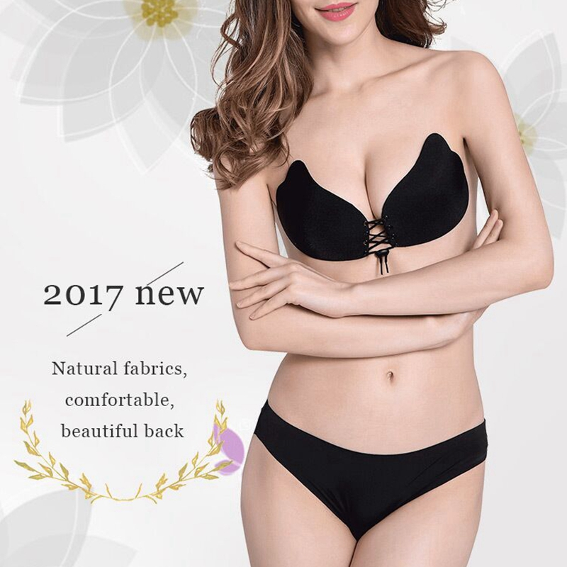2Colors Women's underwear Strapless bra Sexy Invisible Fly bra push up silicone Bra eathable Self-Adhesive Breast Lift Size EFG