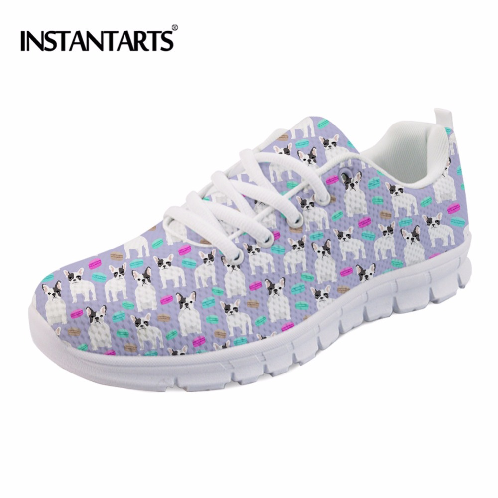 INSTANTARTS Frenchie French Bulldogs Dog Pattern Sneakers Womens Flats Casual Air Mesh Shoes Breathable Female Flat Shoes Women