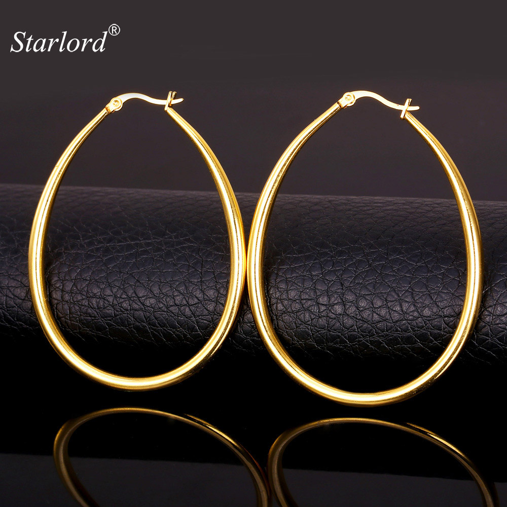Starlord Big Oval Earrings Simple Basketball Wives Fashion Jewelry For Women Hoop Earring Gold Color / Stainless Steel GE680