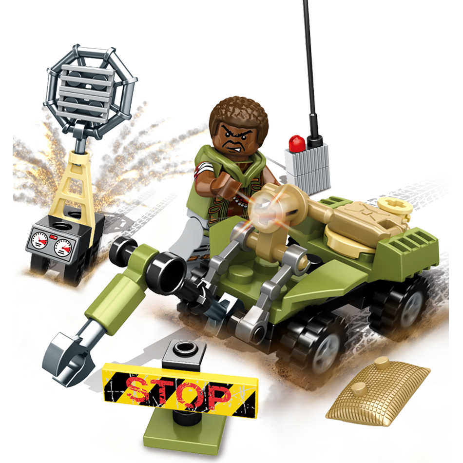Sembo 8 Sets Black Gold Action Toy Figures Building Blocks Compatible Legoed City Military Armored Car Education Toys For Child