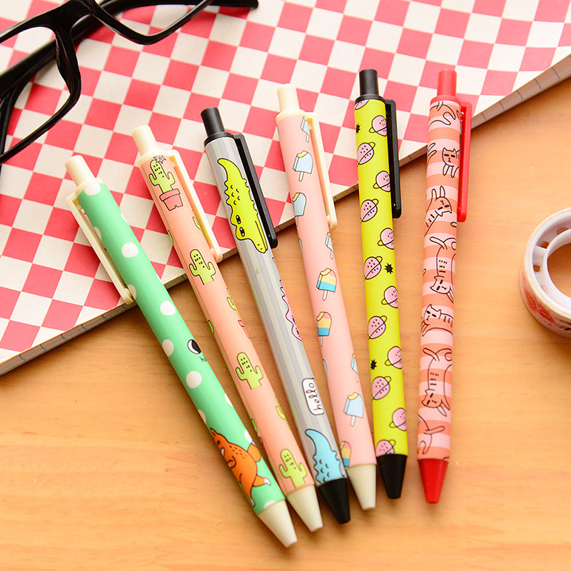 6 pcs/Lot Cute animal party gel pen 0.5mm black gel-ink pens Caneta stationery Office accessories school supplies papelaria 6851 футболка для мальчика acoola carroll цвет зеленый 20120110113 2300 размер 122