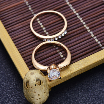 Fashion jewelry New gold color CZ zircon finger ring set wedding gift 1