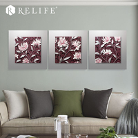 Romantic Purple Flower Acrylic Wall Art Handpainted Decorative Pictures for Living Room