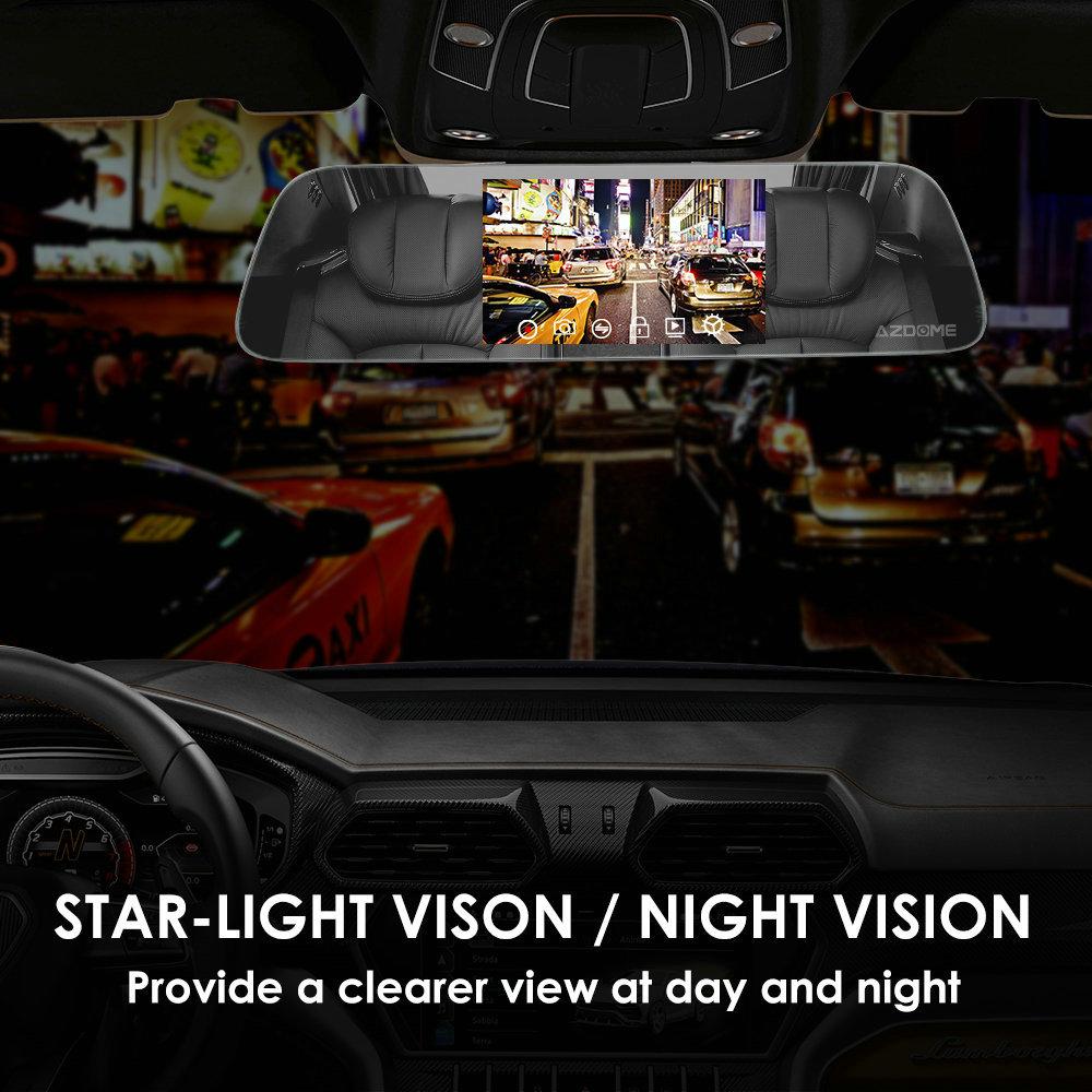 AZDOME PG01 Super Night Vision Mode Mirror Dash Cam Dual Lens 1080P+720P Camera Recorder 5.5