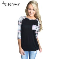 Feiterawn Casual Plaid Tops For Women Raglan 3 4 Sleeve O Neck Black Red Blue Green