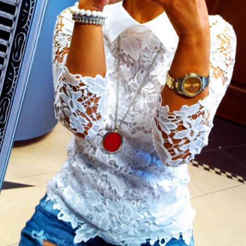 Apparel 2017 Summer Women Shirts Blouse Casual Sexy Sheer Lace Hollow Out Female Shirts Streetwear Chic Lady Blouse
