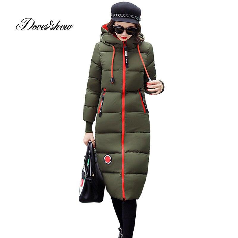 Hooded Winter Down Coat Jacket Long Warm Slim Women Cotton-padded Casaco Feminino Abrigos Mujer Invierno Wadded Parkas Outwear