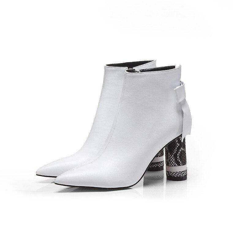 Pointu 2018 Noir Pour Bottes Masgulahe Femmes white Bal Mode Élégantes Zip Automne Véritable Cheville Dames De En Bout Hiver Cuir aSqqYUdw