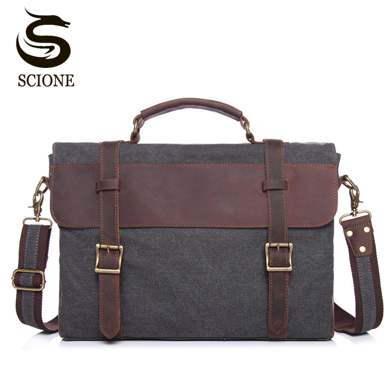 New Fashion Men Briefcase Bag Canvas + Leather Messenger Bags for Men Famous Brand Shoulder Bag Male Casual Laptop Handbag Totes feger 2018 new fashion genuine leather men bag famous brand shoulder bag messenger bags causal handbag laptop briefcase male